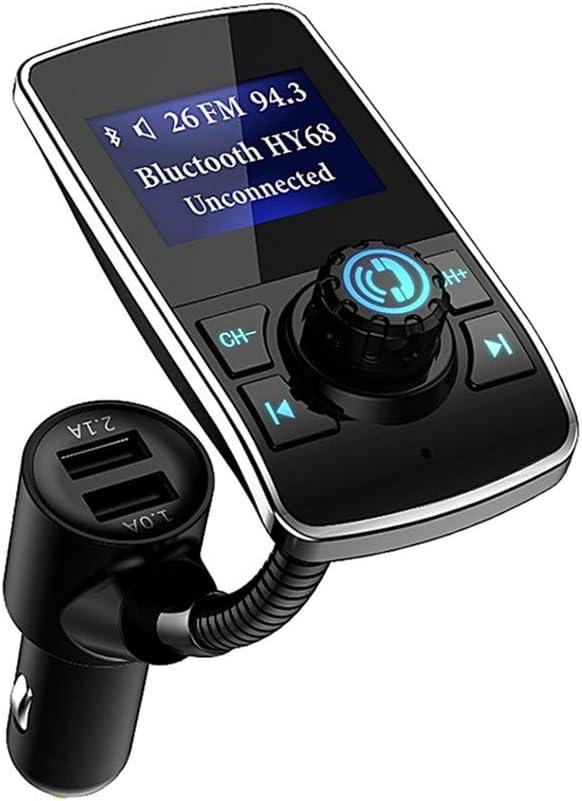 Aigoss Transmisor FM Bluetooth Coche, Manos Libres Bluetooth Reproductor Adaptador de Radio, Dual USB Carga rápida 5V 1.0A / 2.1A, Pantalla de 1.44 Pulgadas, Soporte de Tarjeta TF y 3.5mm AUX