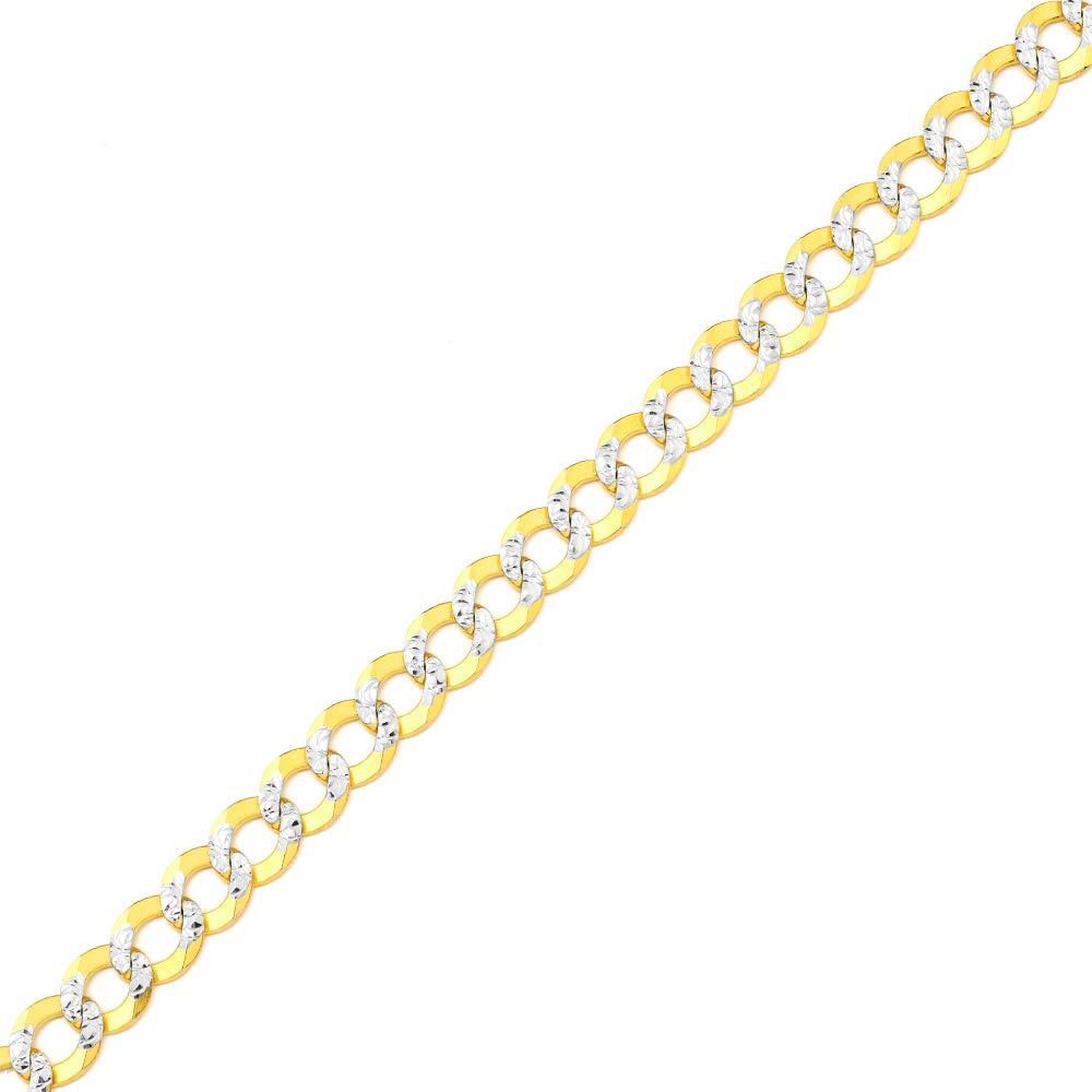 Mr. Bling 10K Yellow Gold 8mm 24'' Solid Pave Two-Tone Curb Chain Necklace with White Gold Pave Diamond Cut, with Lobster Lock