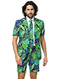 Opposuits Men's Summer Suit - Juicy Jungle - Includes Shorts, Short-Sleeved Jacket & Tie