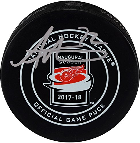 Andreas Athanasiou Detroit Red Wings Autographed Official Game Puck - Fanatics Authentic Certified - Autographed NHL Pucks