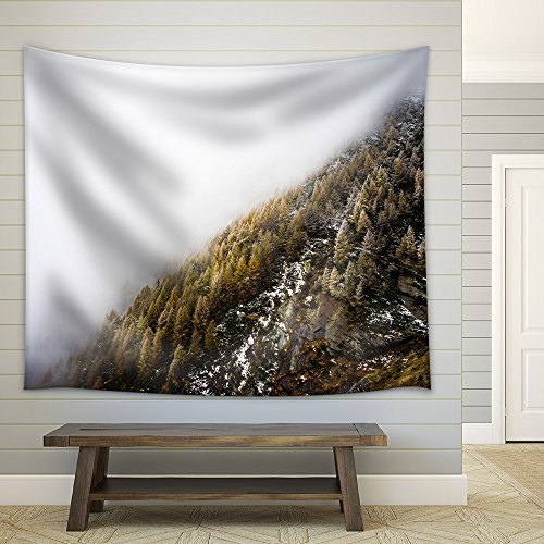 Landscape of Trees and Mountain Surrounded by Fog Fabric Wall