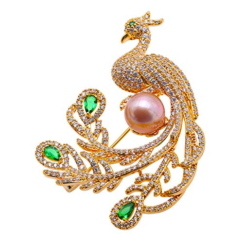 Freshwater Pearl 9mm Peacock (JYX Fine Pearl Brooch 9.0mm Pink Freshwater Pearl Peacock Brooch Pin Christmas Party)