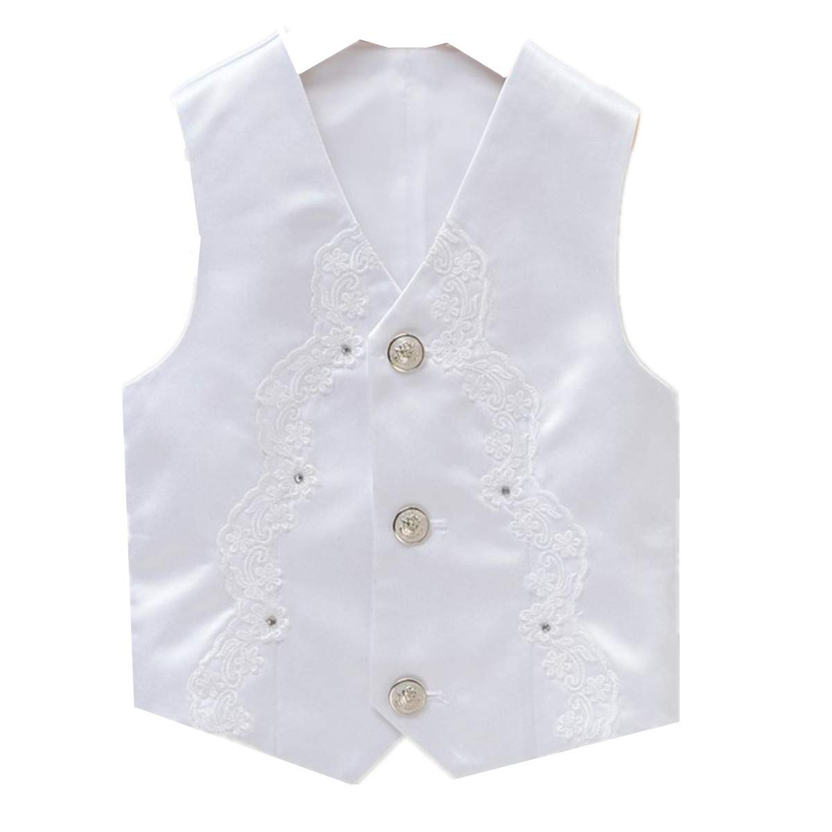 LJYH boy's Formal Vest Stylish Stage Performance Waistcoat White/13-14years