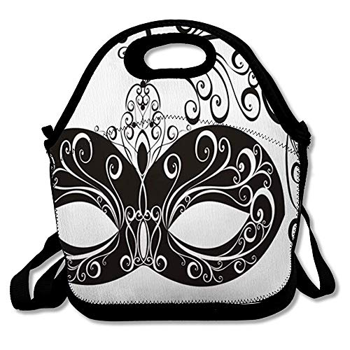 Lunch Bag for Women Men Black Party Mask Masquerade Holidays Clip Orleans White Year Carnival Actor Design Reusable Insulated Lunch Tote with Zipper