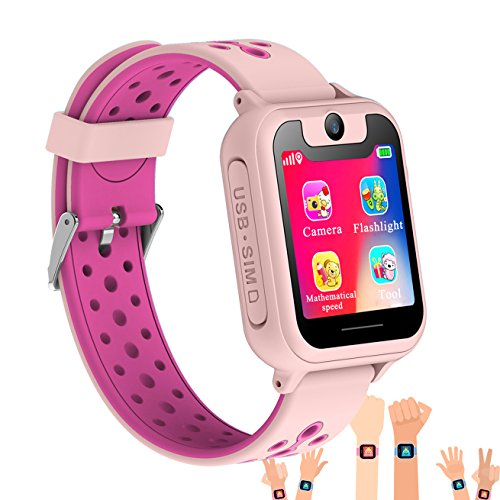 Synmila Kids Smart Watch GPS Tracker, Touch Screen Wrist Watch Phone with SIM for Boys Girls with Camera Fitness Trackers Anti-lost Wearable Phone Watch Monitors Bracelet for iOS Android (pink)