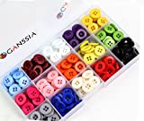 GANSSIA 15mm(5/8'') 4 Holes 15 Colors Buttons Multi Color Pack of 300Pcs with Box