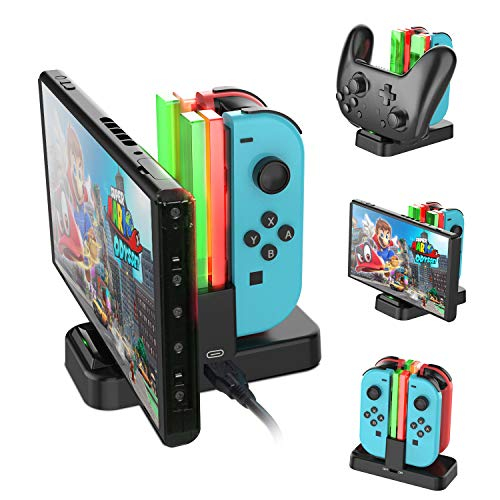 (Nintendo Switch Joy-Con Charging Dock, AairHut Charging Dock Stand Station for Switch Joy-Con and Pro Controller with Charging Indicator and Type C Charging Cable)