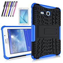 Windrew Heavy Duty Hybrid Protective Case with Kickstand Impact Resistant For Samsung Galaxy Tab 3 Lite 7.0 / Tab E Lite 7.0 SM-T110 T111 T113 + Screen Protector Film and Stylus pen (Blue)