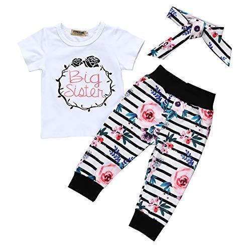 (Toddler Big Sister Girl Outfit Newborn Baby Little Sister Bodysuit Top Shirts+Floral Legging Pant Summer Clothes Set (Big Sister Short, 5-6 Years))
