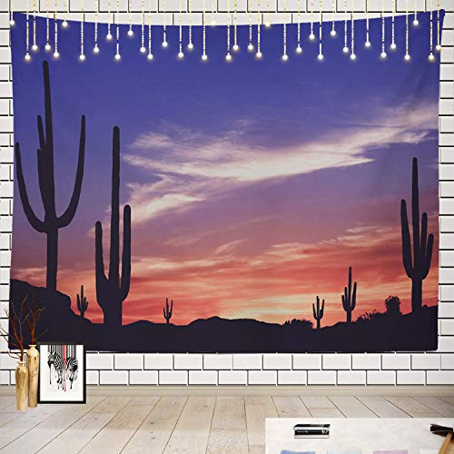 Batmerry Southwest Tapestry, Arizona Saguaro Cactus Southwestern Sunset Picnic Mat Beach Towel Wall Art Decoration for Bedroom Living Room Dorm, 51.2 x 59.1 Inches, Pink 1 ()