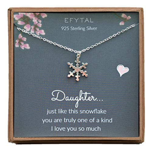 (EFYTAL Birthday Gift for Daughter, Sterling Silver Snowflake Necklace, Graduation Jewelry Gift from Mom or)