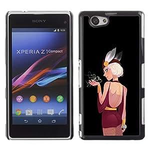 GOODTHINGS Funda Imagen Diseño Carcasa Tapa Trasera Negro Cover Skin Case para Sony Xperia Z1 Compact D5503 - burlesque mujer sexy oídos de dibujo arte de hadas