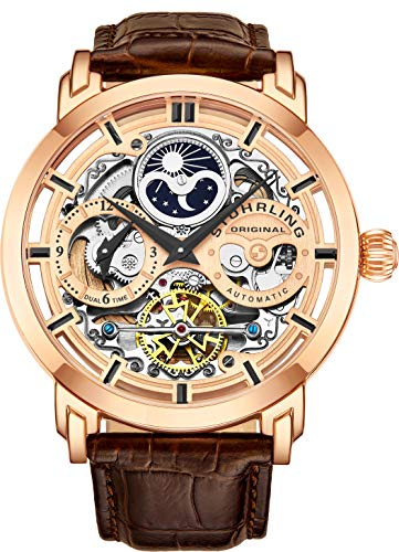 - Stuhrling Original Mens Automatic-Self-Wind Luxury Dress Skeleton Dual Time Gold-Tone Wrist-Watch 22 Jewels 47 mm Stainless Steel Case (Rose Gold)