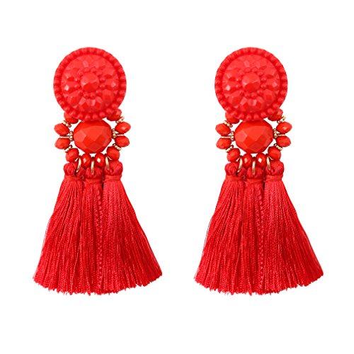 Boderier Thread Tassel Earrings Chandelier Drop Dangling Earrings with Beaded Hoops Stud Earrings Statement Dangles for Women (Red)