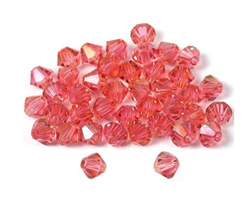 (25pcs Authentic 3mm Small Swarovski Crystals 5328 Xillion Bicone Crystal Beads for Jewelry Craft Making (Light Siam) SWA-b306)