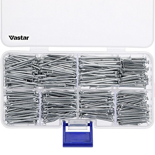 (Vastar 600 Pieces Hardware Nails and Brad Nails Assortment 7 Different Sizes)