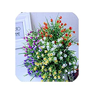 Plastic Artificial Flower for Wedding Decoration Mini Lily Faux Flowers Blooming Baby's Breath Fake Flowers Home Garden Decor 95