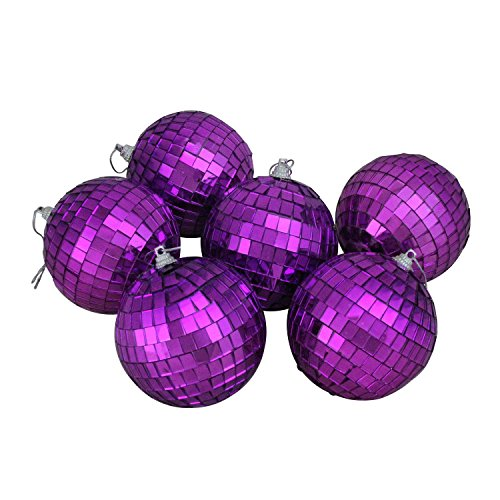 Northlight 6ct Purple Mirrored Glass Disco Ball Christmas Ornament 3.25