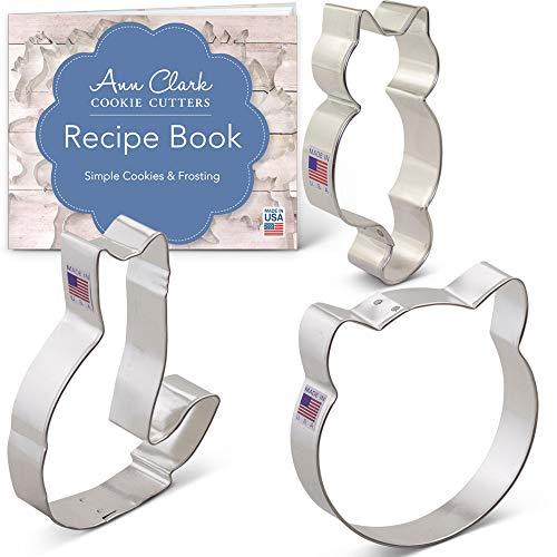 Cat Cookie Cutter Set with Recipe Booklet - 3 piece - Cat Face, Cute Kitty Cat, Cat - Ann Clark - USA Made Steel