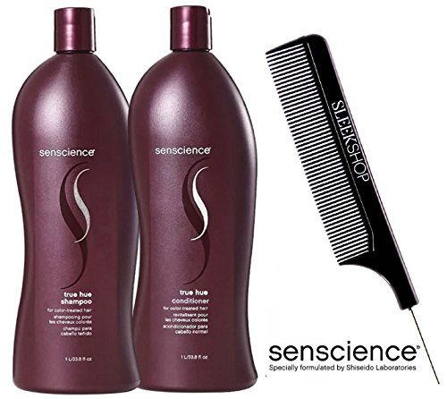Senscience TRUE HUE Shampoo & Conditioner for COLOR-TREATED Hair DUO Set (with Sleek Steel Pin Tail Comb) (33.8 oz / 1000 ml - LITER DUO Kit) ()