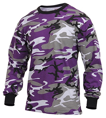 Rothco Long Sleeve Colored Camo T-Shirt, Ultra Violet Camo, M