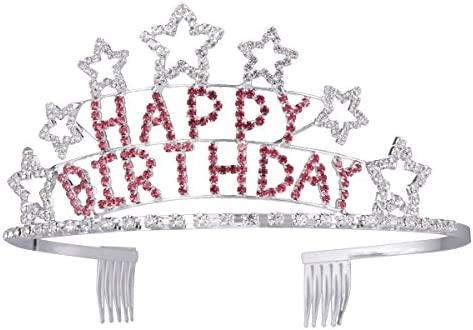 frcolor Glitter Tiara Birthday Girl para cumpleaños corona ...