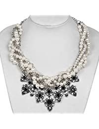 Fashion Mixed Faux-Pearl Beads Statement Necklace Rhinestone Crystal Silver Chain Pendant Jewelry
