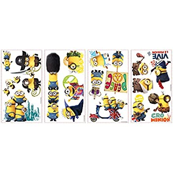 RoomMates RMK3000SCS Minions The Movie Peel and Stick Wall Decals, 16 Count