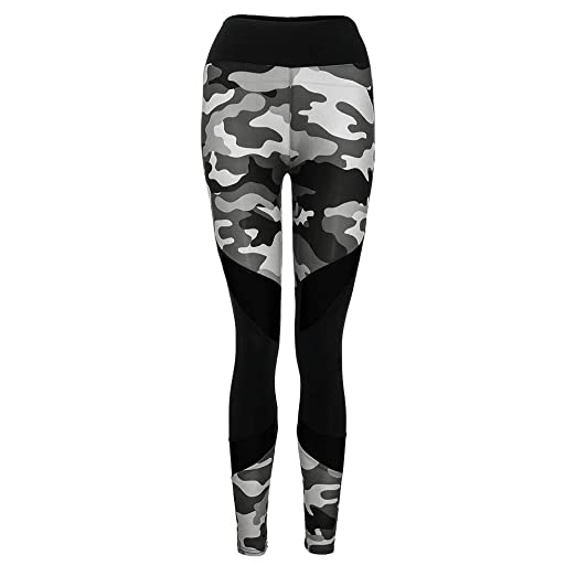 f9ba211402ff42 Women Camouflage Print Leggings, High Waist Color Block Athletic Pant Yoga  Bravetoshop (Camouflage,