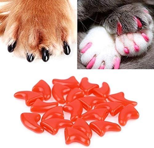 Für Tier LMY 20 Stück Silikon Soft Cat Nail Caps/Katzen-Tatzen-Greifer/Haustier-Nagel-Schutz/Cat Nail Cover, Größe: L (Schwarz) (Farbe : Red)