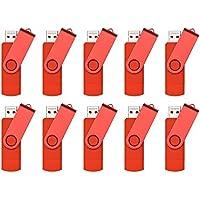 FEBNISCTE 8GB Swivel Red OTG USB Flash Drive for Cell Phones & Tablet PCs - Pack of 10