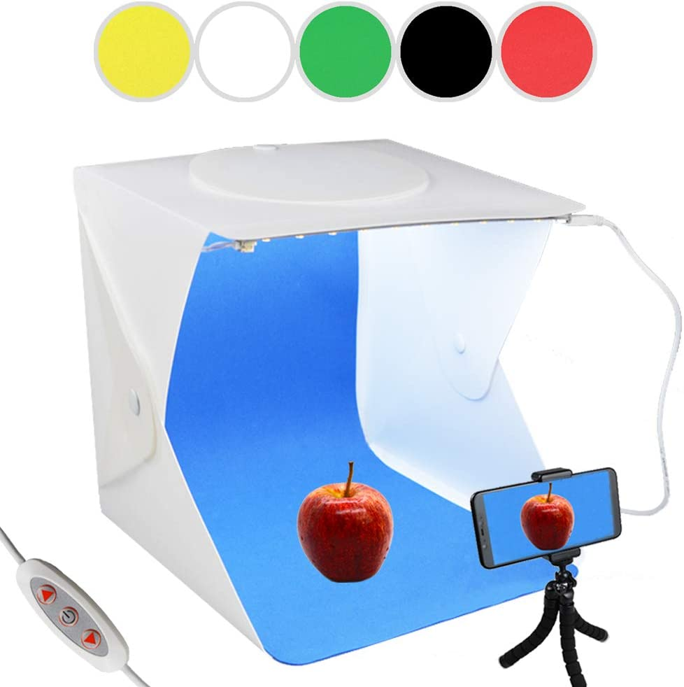 Mini Tripod+Cellphone Clip for Photogaphy Product Display Photo Studio Box Portable Folding Shooting Light Tent with 2pcs Adjustable LED Strip 6 Colors Backdrops