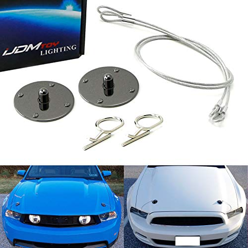 iJDMTOY Set of Classic Design 2.5-Inch Gun Metal Billet Aluminum Hood Pin Appearance Kit w/Cable For Any Car, Truck, SUV, etc