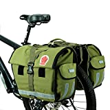 ArcEnCiel 45L Water-Resistant Bicycle Rear Seat Carrier Bag Double Pannier Bag Army Green - Rain Cover Included