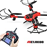 Metakoo D1 RC Toy Drone with 720P HD Camera, Big Outdoor/Indoor Helicopter with Carbon Fiber Arms, Quadcopter with Altitude Hold, 3D Flips, Headless Mode and One-key Return (Red)