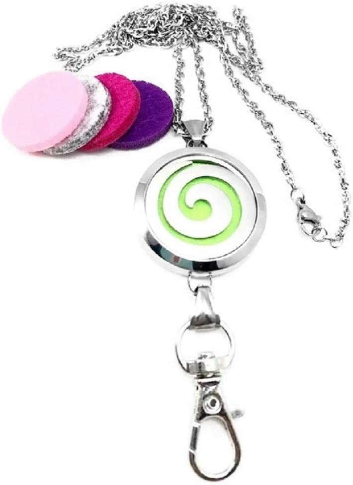 Necklace Aromatherapy Locket Badge Reel Holder Essential Oils Clip On ID Card Clip Diffuser