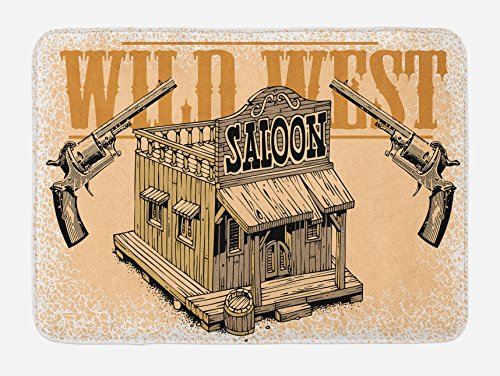 Lunarable Western Bath Mat, Saloon from The Wild Wide West Old Fashioned Guns Weapons Fight Club Rustic, Plush Bathroom Decor Mat with Non Slip Backing, 29.5 W X 17.5 W Inches, Sand Brown Caramel ()