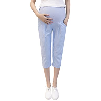 ZEVONDA Schwangere Frauen Damen Leggings Mutterschaft Kurze Hosen Freizeit Shorts Taille Einstellbar