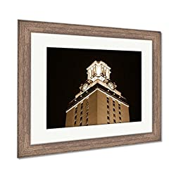 Ashley Framed Prints University of Texas Clock Tower at Night, Wall Art Home Decoration, Sepia, 34x40 (Frame Size), Rustic Barn Wood Frame, AG5420254