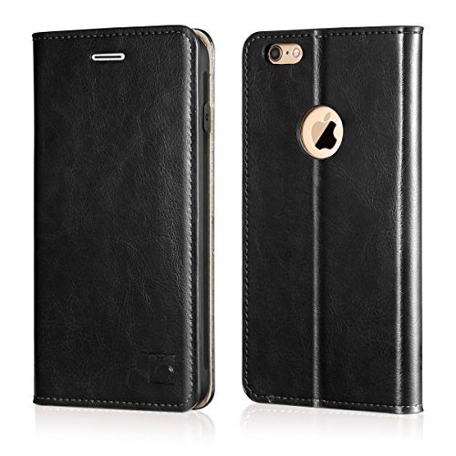 Belemay iPhone 6s Case, iPhone 6 Case, Genuine Leather Case Slim Wallet, Flip Folio Cover [Durable Soft TPU Inner Case] Card Holder Slots, Kickstand, Cash Pocket Compatible iPhone 6s / iPhone 6, Black