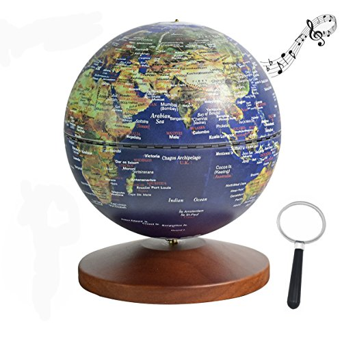 Illuminated World Globe for Kids with Wooden Stand Base, Built- in LED for Illuminated Night View, Rechargeable LED Glowing Globe Night Light with Music Box, Ideal Educational Gift for Kids Teens, 5