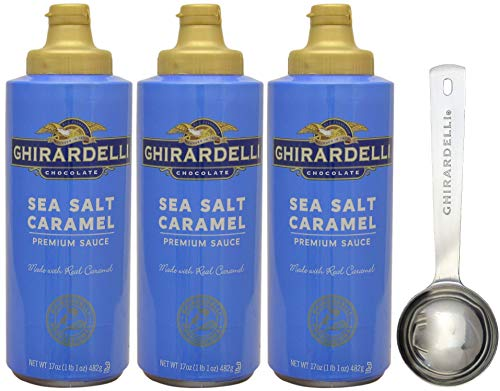 (Ghirardelli Salted Caramel Sauce Squeeze Bottle, 17 Ounce (Pack 3) - with Limited Edition Measuring Spoon)