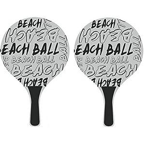 Beachballset mit Beach Ball Aufschrift Beachballspiel in weiß