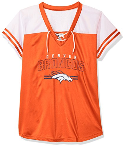 NFL Denver Broncos Women S/S MESH V NECK, ORANGE/WHITE, 1X