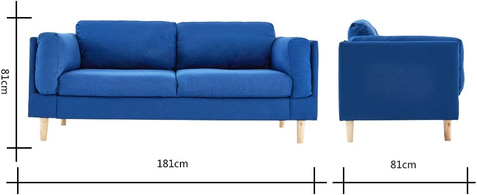 Modern 2//3 Seater Red Blue Fabric Deep Seat Sofa Settee Living Room Furniture