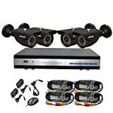 YSCAM 4Channel 720P HD Security System with 1TB Hard Drive, 4pcs 1MP 720P outdoor waterproof 1200TVL Metal Cameras, 720P DVR, and 100' Night Vision Support 3G/4G Moblie phone remote view