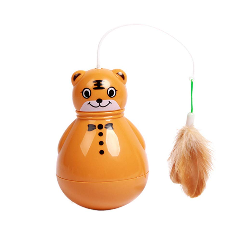 WYF Tumbler Cat Toy Best Interactive Shake Funny Feather Stick Electric Rotating Toy Entertainment Sports Indoor for Chewing Fun Playing with Cat