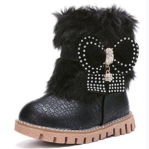 UBELLA Toddler Girls Side Zipper Bowknot Warm Winter Fur Snow Boots