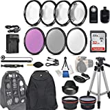 58mm 28 Pc Accessory Kit for Canon EOS T6i, T7i, 77D, T6s, 750D, 800D, 760D DSLRs with 0.43x Wide Angle Lens, 2.2x Telephoto Lens, 32GB SD, Filter & Macro Kits, Backpack Case, and More