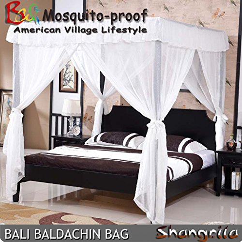 - Taiyucover 4 Corners Bali Baldachin Bed Canopy Classic Brilliant White; Classic European Style 4 tassles Bed Canopy;4 Tie Backs Bedding Curtain (White, Queen)